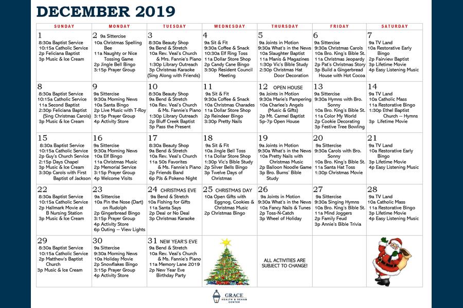 December Activity Calendar